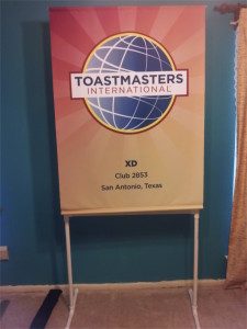toastmasters club banner on display